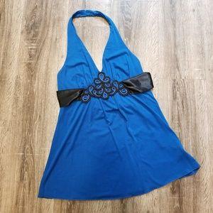Blue halter top with black detail